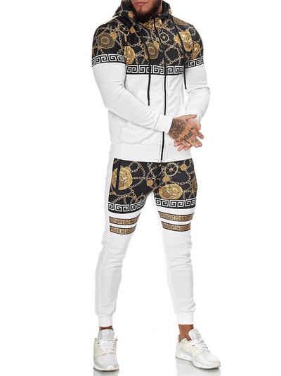 OneRedox Jogginganzug »Herren Jogginganzug Trainingsanzug Sportanzug« (Sportanzug Jogger Trainingsanzug, im modischem Design), Fitness Freizeit Casual