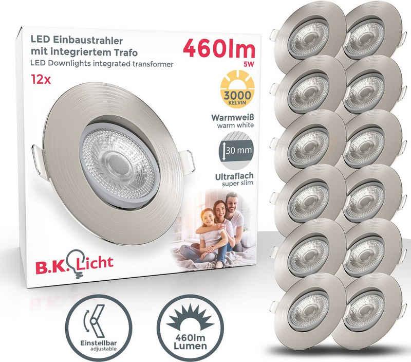 B.K.Licht LED Einbauleuchte, LED Deckenspots schwenkbar Einbaustrahler Spots Lampe ultra-flach IP23 12er SET