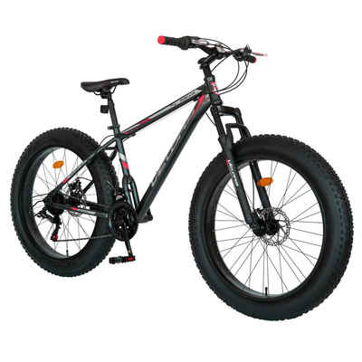 Velors Mountainbike »26 Zoll Fat Tire Mountain Trail Bike«, 21 Gang Shimano Tourney Schaltwerk, Kettenschaltung, Stahlrahmen, Mechanische Scheibenbremse, 18 Zoll Rahmen MTB