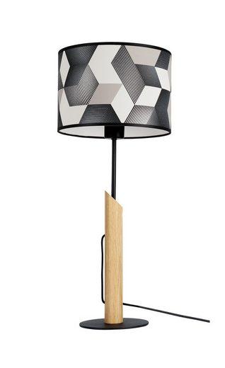 BRITOP LIGHTING Tischleuchte »ESPACIO«, Aus Eichenholz mit FSC®-Zertifikat, Schirm aus laminierter Tapete, passende LM E27 / exklusive, Made in Europe
