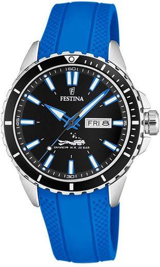 Festina Quarzuhr »UF20378/3 Festina Herren Uhr Elegant F20378/3 PU«, (Analoguhr), Herren Armbanduhr rund, PURarmband blau
