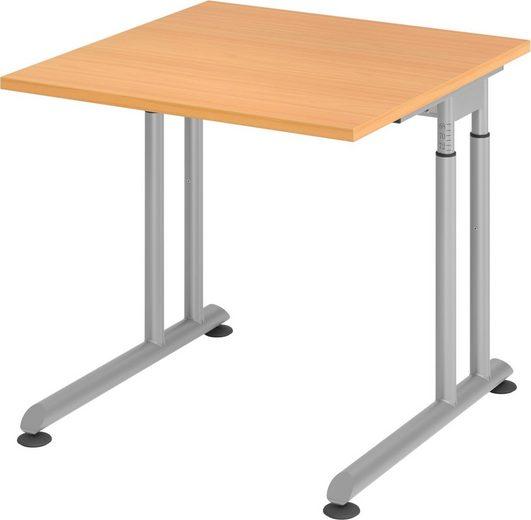 bümö Schreibtisch »OM-ZS08-S«, höhenverstellbar - Quadrat: 80x80 cm - Gestell: Silber, Dekor: Buche