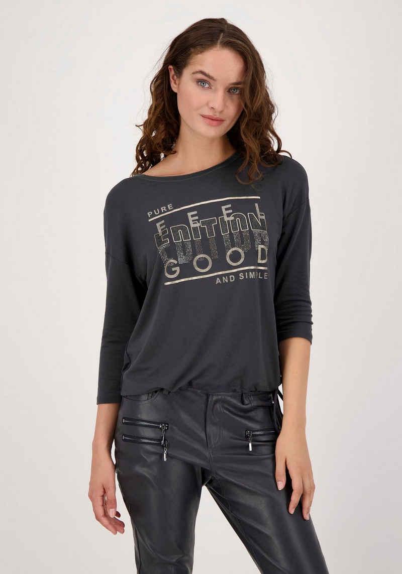 Monari 3/4-Arm-Shirt verziert mit Lackdruck, Glitter- und Strassschrift