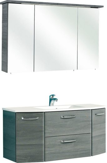 PELIPAL Badmöbel-Set »Alika«, (2-St), Spiegelschrank inkl. LED-Beleuchtung, Waschtisch-Kombination, Mineralgussbecken, Metallgriffe, Türdämpfer