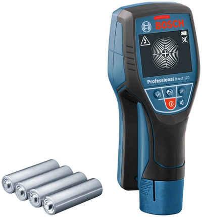 Bosch Professional Metalldetektor »D-tect 120 Professional«, findet Metalle, Leitungen, wasserführende Kunststoffrohre und Holzunterkonstruktionen