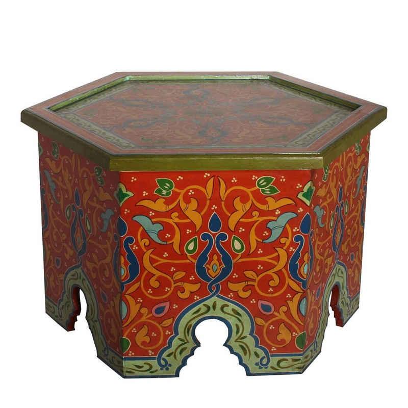 Casa Moro Beistelltisch »Orientalischer Tisch Walid Höhe 43 cm x Ø 70 cm aus Holz handbemalt, Vintage Sofatisch Couchtisch, RK610«, Kunsthandwerk aus Marokko