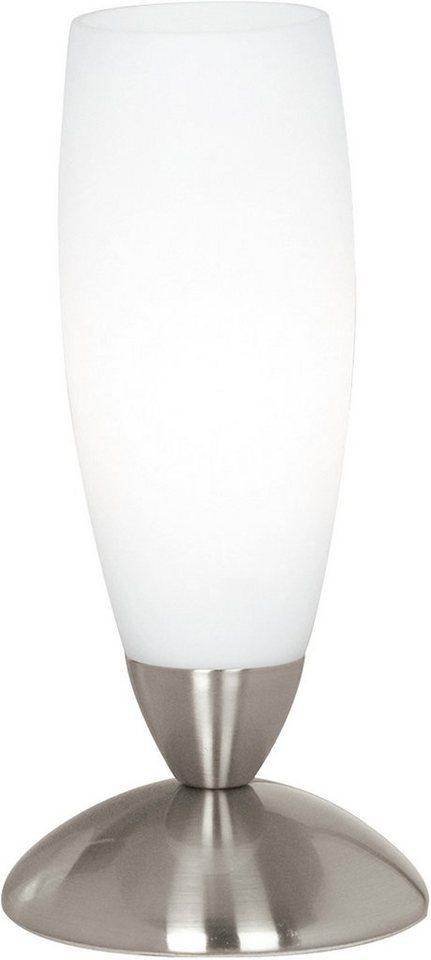 Tisch Leuchte Lampe Beistell Licht Beleuchtung TANIC nickel matt weiß E14 NEU