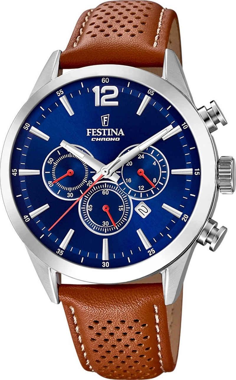 Festina Chronograph »UF20542/3 Festina Herren Uhr F20542/3 Lederarmband«, (Chronograph), Herren Armbanduhr rund, Lederarmband braun, Fashion