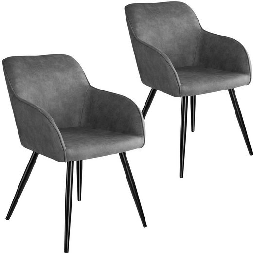 tectake Esszimmerstuhl »2er Set Stuhl Marilyn Stoff, schwarze Stuhlbeine«