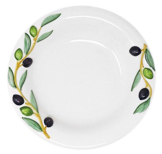 Lashuma Speiseteller »Olive«, Suppenteller rund, Keramikteller Ø 23 cm