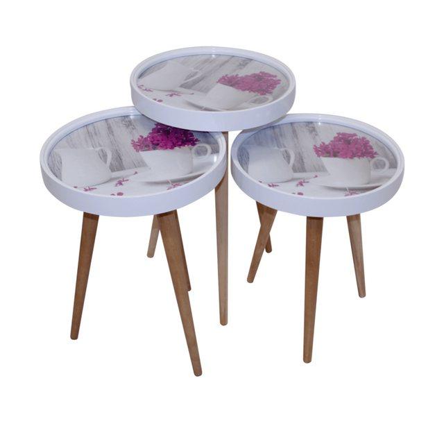 Wohnzimmertische - moebel17 Beistelltisch »Beistelltisch Kaffe Set 3 er Set 3D mit Glas Rund«  - Onlineshop OTTO
