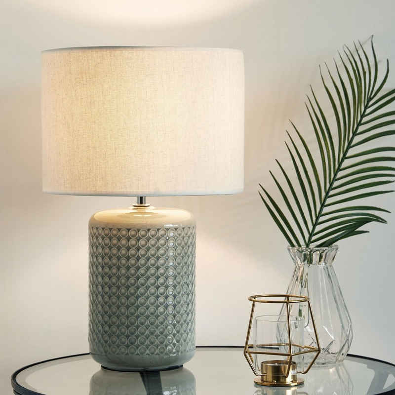 Pauleen LED Tischleuchte »Go for Glow inklusive Leuchtmittel«, 3step dimmbar, Grün, Beige, Keramik, Stoffschirm