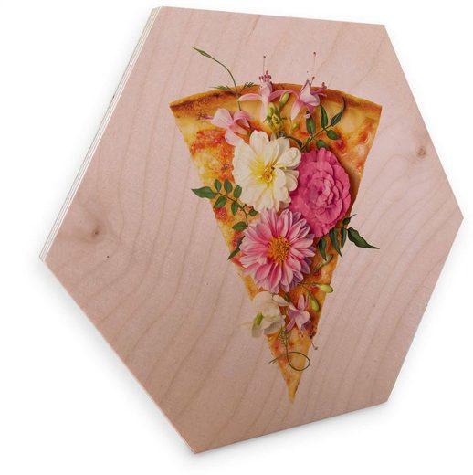 Wall-Art Holzbild »Blumen Pizza Holzbild Küche«, (1 Stück)