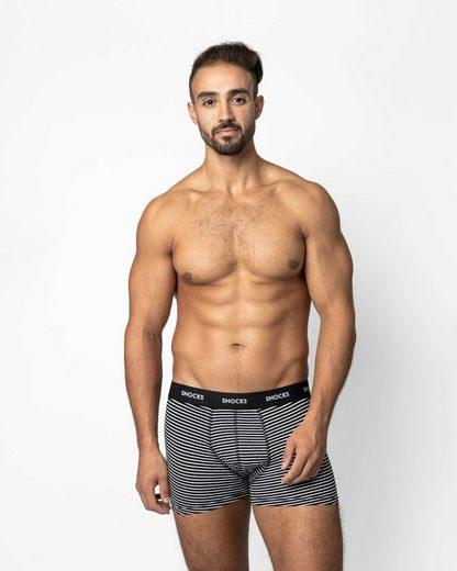 SNOCKS Boxershorts »Enge Unterhosen Männer mit farbigem Bund« (6 Stück) aus Bio-Baumwolle, ohne kratzenden Zettel