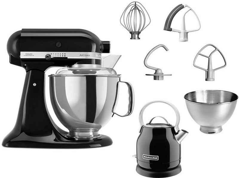 KitchenAid Küchenmaschine Artisan 5KSM175EOB, 300 W, 4,8 l Schüssel, mit Gratis Wasserkocher KEK1222EOB, 2. Schüssel, Flexirührer
