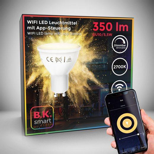 B.K.Licht LED-Leuchtmittel, GU10, 1 Stück, Warmweiß, Smart Home LED-Lampe RGB WiFi App-Steuerung dimmbar Glühbirne 5,5W 350 Lumen