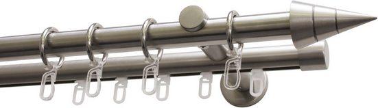 Gardinenstange »Gardinenstangen Set Kegel 2-Lauf Ø 20 mm«, GARDINIA, Ø 2 mm, 2-läufig, Fixmaß, edelstahlfarben
