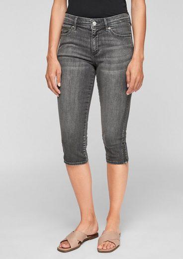 s.Oliver 7/8-Jeans »Slim Fit: Capri aus Denim« Waschung, Leder-Patch, Reißverschluss