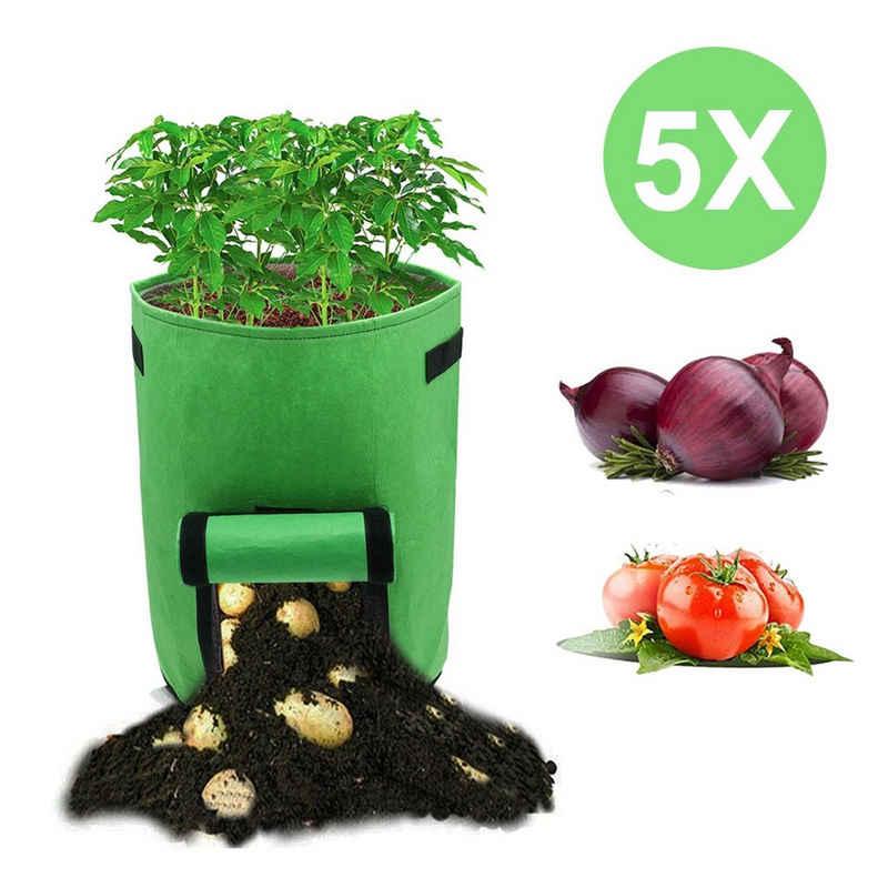 Einfeben Pflanzkübel »5x Pflanzsack 15/27/38L mit Fenster Pflanzen Tasche Grün Kartoffel Pflanzbeutel Garten«