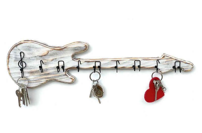 DanDiBo Schlüsselbrett »Schlüsselbrett Holz Handmade 96107 Gitarre Schlüsselboard Schlüsselhaken Schlüsselleiste Schlüsselkasten«