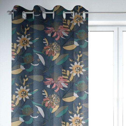 Vorhang »SCHÖNER LEBEN. Vorhang ECHINOPS große Blumen Blüten Blätter grau bunt 245cm oder Wunschlänge«, SCHÖNER LEBEN., Ösen (1 Stück)