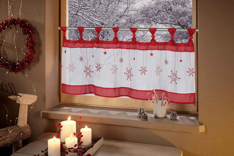 Scheibengardine »Schneeflocke«, my home, Schlaufen (1 Stück)