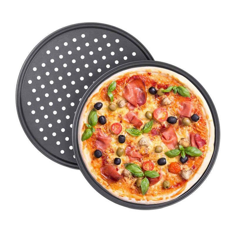 relaxdays Pizzablech »Pizzablech rund 2er Set«, Stahl