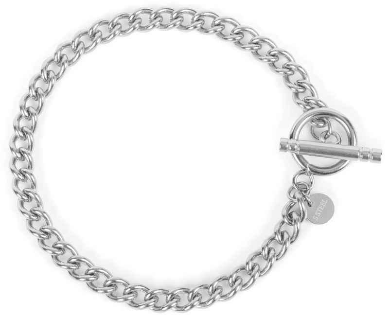 styleBREAKER Armkette »Edelstahl Glieder Armkette mit Knebelverschluss«, Edelstahl Glieder Armkette mit Knebelverschluss