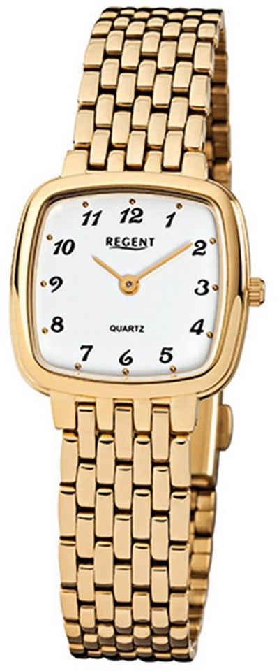 Regent Digitaluhr »URF521 Regent Damen-Armbanduhr gold Analog F-521«, (Analoguhr), Damen Armbanduhr eckig, Stahl, ionenplattiert goldarmband gold