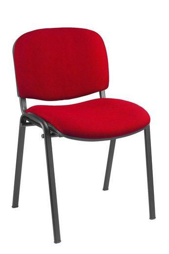 Lüllmann Besucherstuhl »SET - Besucherstuhl Stuhl Stühle Konferenzstuhl Büromöbel stapelbar rot« (Spar-Set, 10 Stück), Scheuerfestigkeit 30000 Touren Martindale, Ergonomisch geformte Rückenlehne ca.4cm gepolstert, Ergonomisch geformte Sitzfläche ca. 4cm gepolstert, GS-Zeichen