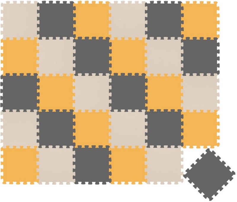 LittleTom Puzzlematte »30 Teile Baby Kinder Puzzlematte ab Null - 30x30cm«, Puzzleteile, Grau Beige Gelb