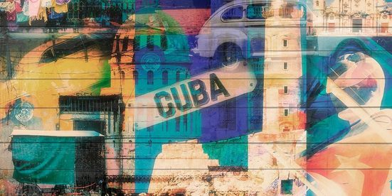 QUEENCE Holzbild »Welcome to Cuba«, 40x80 cm Echtholz