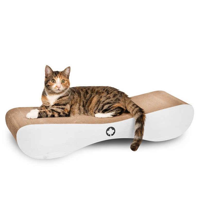 Canadian Cat Company Kratzpappe »Satellite 2.0 - hellgrau«, (Qualitäts-Kratzbrett, XL Kratzmöbel mit Katzenminze), ergonomische Form