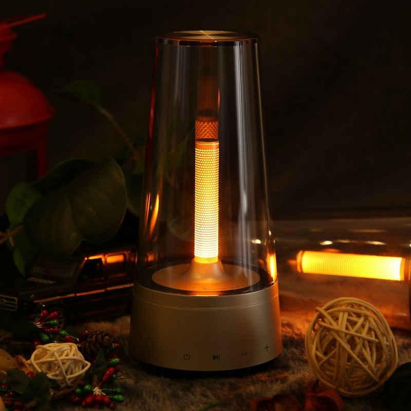 ZMH LED Nachttischlampe »Tischlampe LED Nachttischlampe Dimmbar Nachtlicht USB aufladbar mit Bluetooth Lautsprecher Akku Tischleuchte Kerzenlicht Deko Innen Außen Stimmungslicht für Kinderzimmer Bar Schlafzimmer«