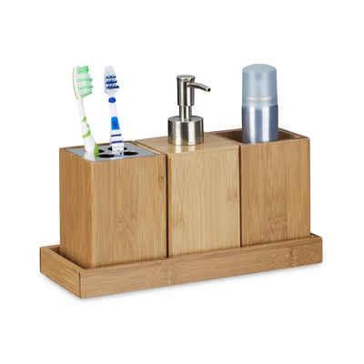 relaxdays Seifenspender »Bad-Accessoires-Set Bambus«