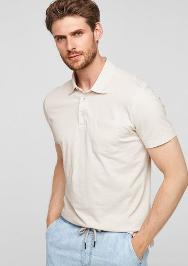 s.Oliver Kurzarmshirt »Poloshirt mit Flammgarn-Struktur« (1-tlg)