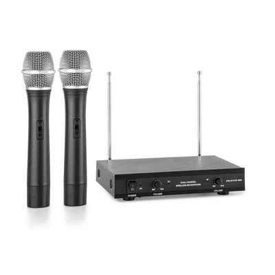 Auna Mikrofon »VHF-2-H 2-Kanal-VHF-Funkmikrofon Set 2 x Handmikrofon 100m« (Empfänger + Handmikrofon, Taschensender, Netzteil & Klinken-Kabel)