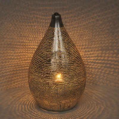 Casa Moro Nachttischlampe »Orientalische Lampe Alia Sada D20 echt versilberte Messing-Lampe, Prachtvolle Tischlampe wie aus 1001 Nacht, ESL2170«