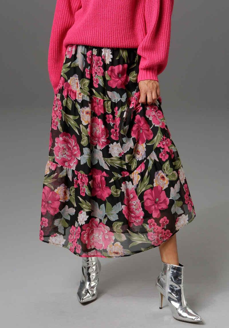 Aniston CASUAL Maxirock mit Volant und großflächigem Blumendruck - NEUE KOLLEKTION