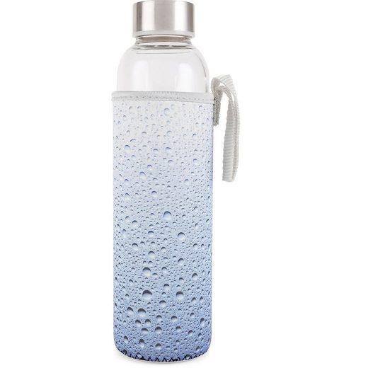 """Kikkerland Trinkflasche »Glas Trinkflasche """"Wassertropfen"""" mit Hülle und«"""