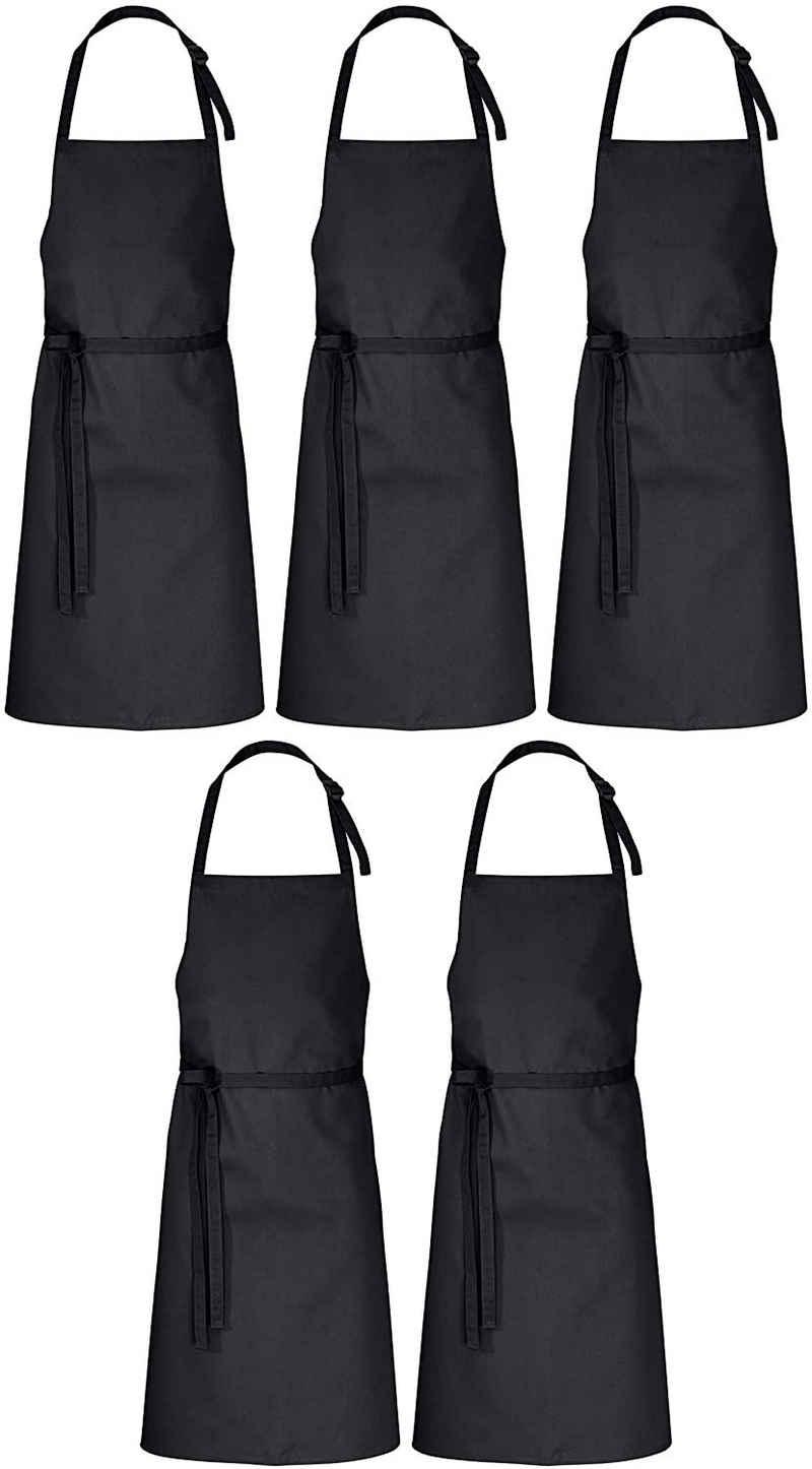 DESERMO Kochschürze »Premium verstellbare Latzschürze 100cm x 80cm«, (5-tlg), Hochwertige Latzschürze für Frau & Mann
