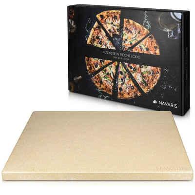 Navaris Pizzastein, Schamottstein, XL für Backofen Grill aus Cordierit - für Ofen Brot Flammkuchen - Gasgrill Herd Steinplatte eckig 38x30cm