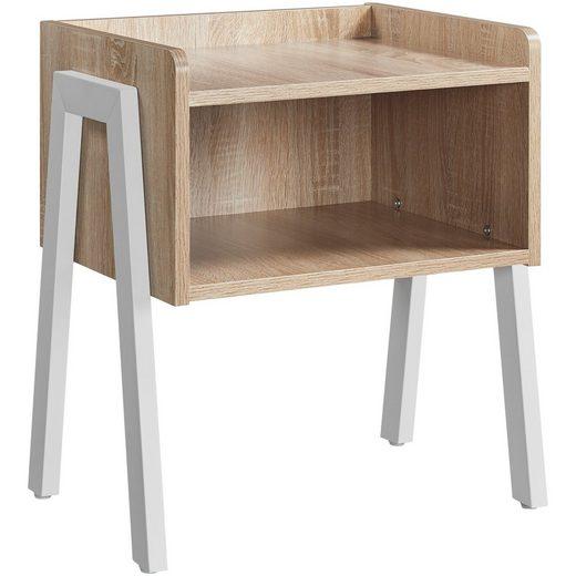 Yaheetech Nachttisch, Nachttisch, stapelbarer Nachtschrank, Nachtkommode, Beistelltisch mit offenem Fach, stabile Metallbeine, Industrie-Design, Light Oak