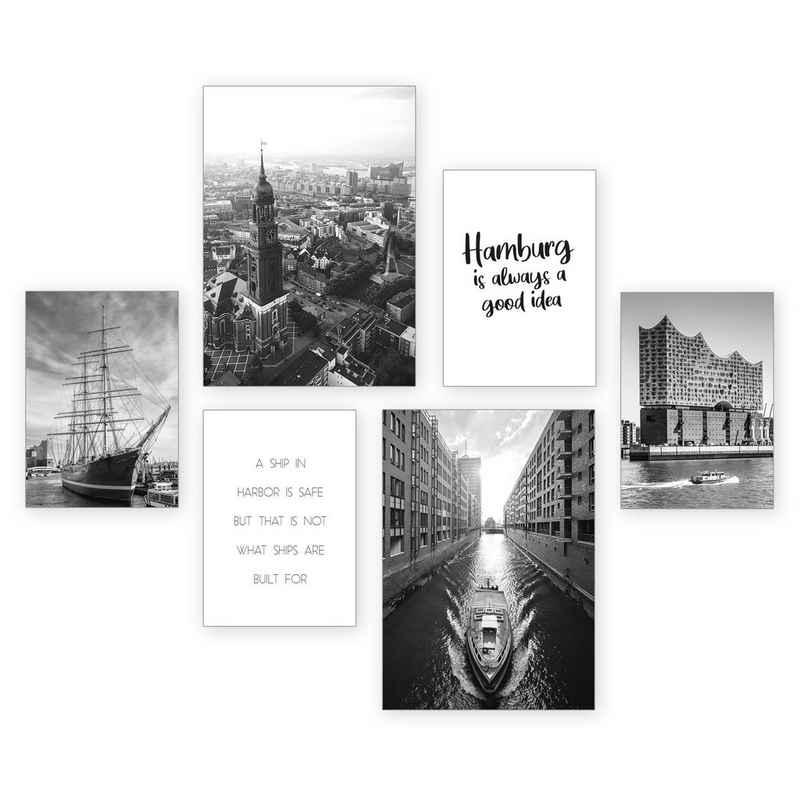 Kreative Feder Poster, Hamburg, Deutschland, Stadt, Meer, Küste, Schiff, Architektur, Hafen (Set, 6 Stück), 6-teiliges Poster-Set, Kunstdruck, Wandbild, Posterwand, Bilderwand, optional mit Rahmen, WP558