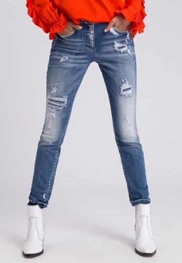 MARC AUREL 5-Pocket-Jeans mit Destroyed-Details