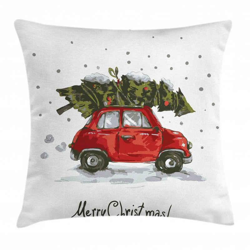 Abakuhaus Kissenbezug »Waschbar mit Reißverschluss Kissenhülle mit Farbfesten Klaren Farben Beidseitiger Druck«, Weihnachten Retro-Auto mit Baum