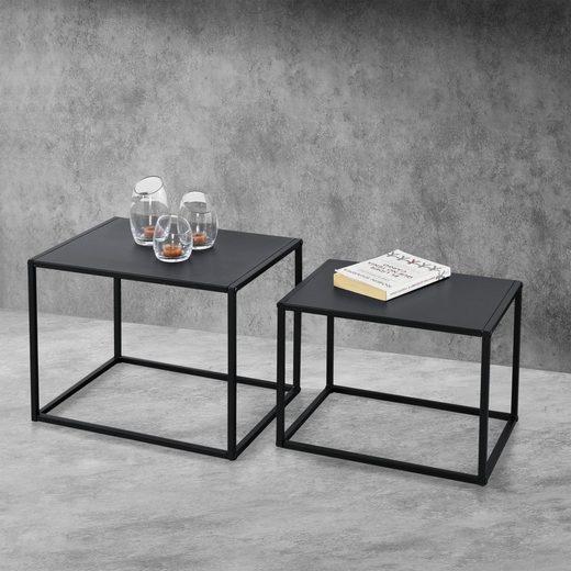 en.casa Beistelltisch, 2er Set »Montona« Metall Couchtisch im Indutrial Design