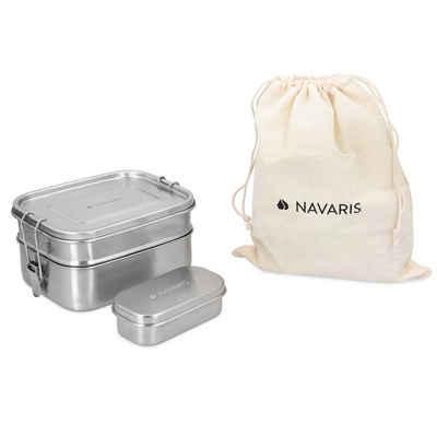Navaris Lunchbox, Edelstahl, (3-tlg), Brotdosen Set 3-teilig - Doppeldecker Lunchbox aus Edelstahl inkl. Mini Behälter - Doppel Brotbox Vesperdose Box Metall Behälter