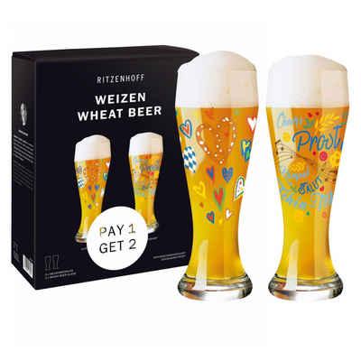 Ritzenhoff Bierglas »Weizen 2er Set 2021 Vater & Jacquart«, Glas