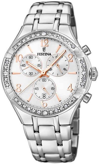 Festina Chronograph »UF20392/1 Festina Damen Uhr F20392/1 Edelstahl«, (Chronograph), Damen Armbanduhr rund, Edelstahlarmband silber